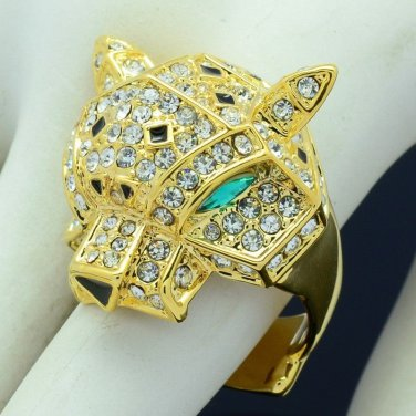 Gold Tone Panther Leopard Cocktail Ring 6# W/ Clear Rhinestone Crystals 08158