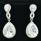 Clear Teardrop Pierced Dangle Earring Trendy Zircon Rhinestone Crystals FA3291