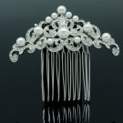 Dossy Imitation Pearl Flower Hair Comb Rhinestone Crystals Bridal Wedding 1459R1