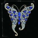 Rhinestone Crystals Blue Butterfly Brooch Broach Pin 8803683