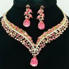 Pink Tear Drop Flower Necklace Earring Jewelry Set Rhinestone Crystals 6116