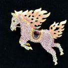 Swarovski Crystals High Quality Pink Horse Brooch Broach Pin Accessories SBA4512