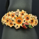 Colorful Ladybug Flower Bracelet Bangle W/ Brown Rhinestone Crystals SKCA1783M-2