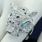 Animal Panther Leopard Cocktail Ring Size 8# W/ Clear Rhinestone Crystals 08158