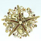Brown Starfish Brooch Broach Pin W/ Imitate Pearl Rhinestone Crystals 6412