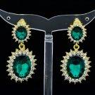 Women Elegant Green Dual Oval Pierced Dangle Earring Rhinestone Crystal 122115