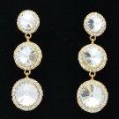 Women 3 Clear Round Drop Pierced Earring Bridal Rhinestone Crystal Party 138919