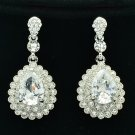 Clear Zircon Water Drop Pierced Earring w/ Rhinestone Crystals For Wedding 20577