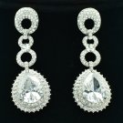 Pretty Zircon Water Drop Pierced Earring Bridal Clear Rhinestone Crystals 20619