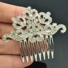 Cute Sliver Tone Rhinestone Crystal Flower Hair Comb Women Party Jewelry XBY019