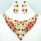 Showy Red Flower Necklace Earring Set w/ Rhinestone Crystals Party Jewelry 00621