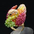 Swarovski Crystals Pretty Vogue Animal Pink Swan Cocktail Ring Size 7#