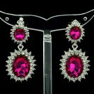 Women Fuchsia Dual Oval Dangle Earring Pierced W/ Rhinestone Crystals 122115