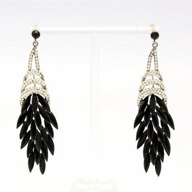 Black Drop Pendent Flower Clear Rhinestone Crystals Pierced Earrings 123835
