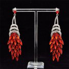 Flamboyant Red Drop Dangle Flower Earrings With Clear Rhinestone Crystals 123835