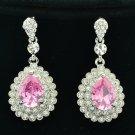 Graceful Rhinestone Crystals Pink Zircon Water Drop Pierced Earrings Party 20577