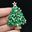 Smart Gift Party Green Enamel Christmas Tree Brooch Pin Rhinestone Crystals 5287