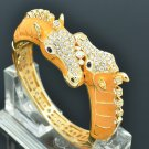 18K GP Swarovski Crystal Noble Yellow Enamel Horse Bracelet Bangle Cuff 2228L