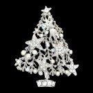 Art Deco Clear Christmas Tree Brooch Pin Gift Party Star Rhinestone Crystal 0680