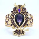 Dazzling Drop Animal Elastic Purple Rhinestone Crystals Owl Bracelet Bangle