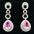 Pink Zircon Water Drop Pierced Earring w/ Rhinestone Crystals 20619