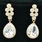 Wonderful Drop Dangle Zircon Pierced Earrings w/ Clear Rhinestone Crystals 20662