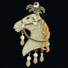 High Quality Brown Swarovski Crystals Feather Horse Brooch Broach Pin SBA4449-6