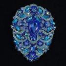 "Big Drop Blue Flower Brooch Pin 4.9"" Pendant Sapphire Rhinestone Crystals 4045"