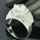Catching Rhinestone Crystals Zircon Silver Tone Ring Sz 7# Wedding Jewelry 21622