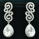 Clear Rhinestone Crystals Teardrop Dangle Pierced Flower Earrings Wedding FA3289