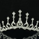 Clear Rhinestone Crystal Flower Tower Form Tiara Crown Women's Prom Jewelry 334R
