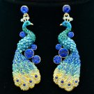 Exquisite Blue Peafowl Peacock Pierced Earring Dangle Rhinestone Crystals FA3185