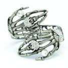 Nice Skeleton Skull Hand Bracelet Bangle Cuff Rhinestone Crystals (More Colors)