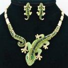 Women Green Gecko Lizard  Necklace Earring Set Jewelry Rhinestone Crystal FA3274