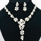 Rhinestone Crystal Bride Faux Pearl Flower Necklace Earring Set Silver Tone 0954