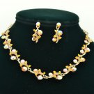 Pretty Topaz Brown Rhinestone Crystals Flower Necklace Earrings Set Party A18