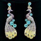 Pretty Animal Peafowl Peacock Purple Rhinestone Crystals Pierced Earrings FA3185