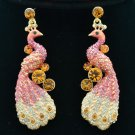Showy Pink Rhinestone Crystals Animal Peafowl Peacock Pierced Earrings FA3185