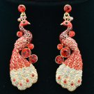 Trendy Animal Peafowl Peacock Red Rhinestone Crystals Pierced Earring FA3185