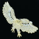 "Wonderful Animal Eagle Brooch Broach Pin 3.5"" Clear Rhinestone Crystals 4717"