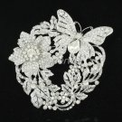 Pretty Silver Tone Rhinestone Crystals Flower Butterfly Brooch Broach Pin  4489