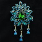 "Fabulous Green Rhinestone Crystals Drop W/ Blue Leaf Flower Brooch Pin 4.5"" 3971"