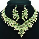 Charming Green Flower Necklace Jewelry Sets Women Party  Rhinestone Crystal 6731