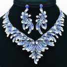 Pretty Blue Flower Necklace Earring Sets Women Jewelry Rhinestone Crystals 6731