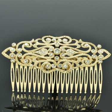 Imperial Style Palace Hair Comb Headband for Prom Gold Rhinestone Crystal XBY083