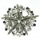 Black Starfish Brooch Broach Pin W/ Imitate Pearl Rhinestone Crystals 6412