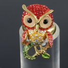 Beautiful Red Owl Cocktail Ring Adjustable Swarovski Crystal Cute Bird SR1894A-3