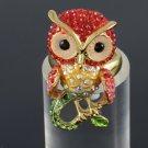 Beautiful Red Owl Cocktail Ring Adjustable Swarovski Crystal Cute Bird SR1894A-3