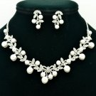 Artificial Pearl Flower Necklace Earring Sets Rhinestone Crystals Wedding 6015