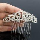 Pretty Heart Flower Hair Comb Headband Bridal Wedding Rhinestone Crystals 1336R